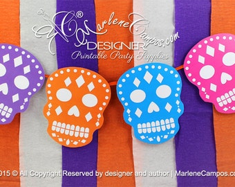 Sugar Skull decoration - Day of the Dead party, Halloween Birthday party, halloween pennants, Sugar Skull| Printable | INSTANT DOWNLOAD