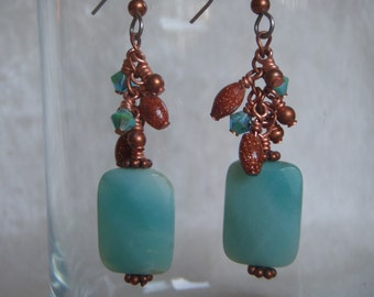 Amazonite, Goldstone, Copper, and Swarovski Crystal Dangle Earrings