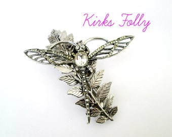 Dragonfly Hair Barrette Vintage 1990s Kirks Folly Large Statement Hairdo Accessory