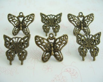 Antiqued Bronzed Color Style Tibetan Butterfly Thumbtack, Garden Butterfly Push Pin, Garden Notice Board Pins, Garden Animal,  Push Pins
