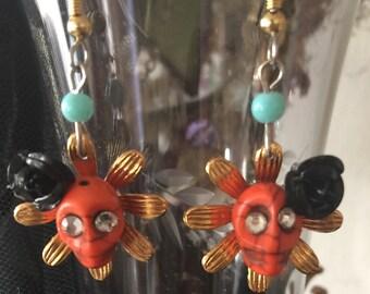 DAY of the DEAD - EARRiNGS - Orange Sugar SKULLS with Rhinestone Eyes -  Dangle Earrings