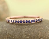 Blue Sapphire Stackable Half Eternity Wedding Band Ring In 14k Rose ,White or Yellow Gold ST233723  *****On Promotion***** Gem1211