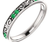 Stackable TSAVORITE  Band in 14kt White  ,Rose or Yellow Gold  Floral Sculptural GREEN GARNET Eternity Band ST233645