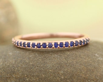 AAA Top Blue Sapphire Stackable Half Eternity Wedding Band Ring In 14k Rose ,White or Yellow Gold ST233723  *****On Promotion***** Gem1211