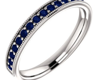 Stackable Half Eternity Blue Sapphire Milgrain Wedding Band Ring   In 14k White  ,Rose or Yellow Gold ST233025*****On Promotion*****