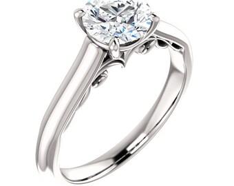 Forever One Moissanite  1ct Round 14K White Gold Diamond Engagement Ring   ***************Specail  For  You************** ST233014