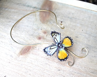 Real White and Yellow Butterfly Brass Wire Choker Torc, Butterfly Wing Choker, Butterfly Jewelry, Nature Jewelry, Endomological Jewelry