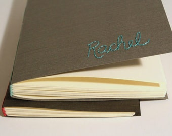 Gray / Teal Personalized Book, Embroidered, Long Stitch Binding, Hand Bound, Made to Order