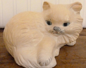 Vintage Ceramic Kitty Cat Figurine - Cream Color Kitty Cat Collectible