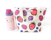 Insulated Lunch Tote Bag with Waterproof Lining - Happy Berries (Choose Your Size!)