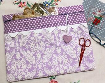 Purple Damask Cross Stitch, Embroidery Project Bag
