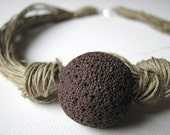 Brown Lava - linen necklace