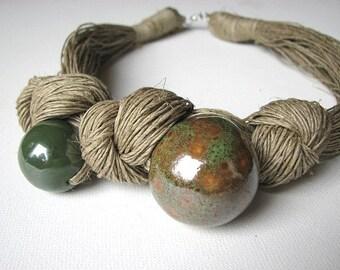 Ceramic Green- linen necklace