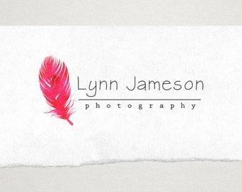 Premade Logo // Logo Design // Business Logo //  Photography Logo // Watercolor Logo // Pink Feather Logo