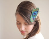 Peacock Headpiece - Peacock Hair Clip - Bridal Head Piece - Rhinestone Hair Clip - Wedding Hair Accessories - Bridal Party Clip Teal Green