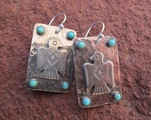 Thunderbird Earrings - Sterling Silver and Kingman Turquoise - Artisan Native Inspired Jewelry