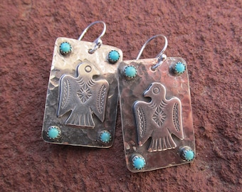 Thunderbird Earrings - Sterling Silver and Kingman Turquoise - Artisan Southwestern Jewelry