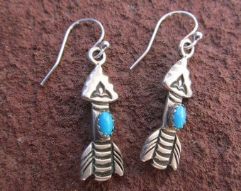 Little Arrow Earrings - Sterling Silver and American Turquoise - vibrant blue