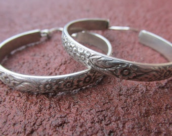 Sterling Silver Organic Hoops Handmade Flower Pattern Hoop Earrings Floral
