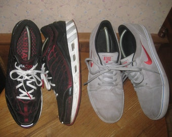 NIKE  Gray Suede Sneakers   &   adidas  Running shoes    Fits  Mens  11.5