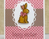 Happy Easter Card- Easter Bunnies- Chocolate Easter Bunny- Kids Easter Card