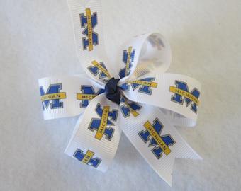 Michigan blue hair bow