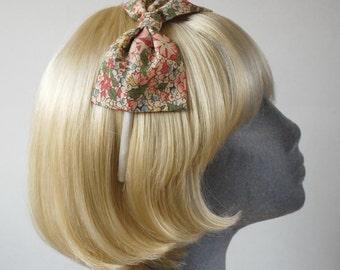 Beige Headband, Beige Bow Headband, Beige-Pink Floral Bow Headband, Beige Bow Aliceband, Beige Floral Hair Bow, Bow Hair Accessory