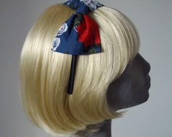 Blue Headband, Blue Bow Headband, Blue Skulls and Red Rose Bow Headband, Blue Bow Aliceband, Blue Hair Bow, Blue Hair Accessories