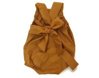 Dijon Mustard Yellow Baby Romper Basic Toddler Sun suit ( Custom ) Fall Urban bubble Snap Bottom Crotch Closure