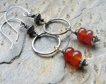 Carnelian Stack Earrings with Rustic Sterling Silver Hoops, Vivid Natural Gemstones E