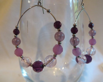 Purple Hoops, earrings, hoops, purple, dangle
