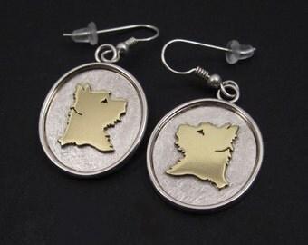Portuguese Podengo Silver & Brass Ear Hooks