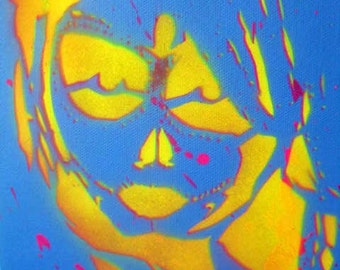 Living Dead Girl #1 - Stencil Art Painting by Jessica Pope - Day of the Dead - Glows under Black Light