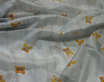 """Vintage Rayon Fabric,Beautiful Golden Butterflies on Wire Look Background, 4 Yards, 36"""" Wide"""