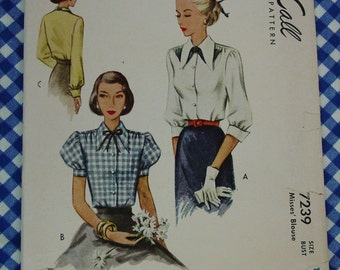 Vintage Pattern c.1946 McCall No.7239 Blouse, 3 Sleeve Lengths, Size 16