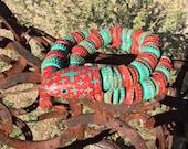 Reserved DO NOT Buy - Folk ArT - Bottle Cap Snake / Santa Fe -  Saguaro Cactus  Wood /  Rusty Painted Caps  - Cathy DeLeRee