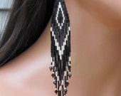 Extra Long Earrings in Black and Silver - Extra Long Beaded - Seed Bead Statement - Bugle Bead Earrings - Gypsy Boho Style - Fringe