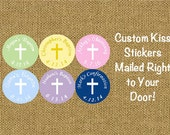 "108 PRINTED Small Candy Kiss Labels 3/4"" Baptism Christening or First Communion Personalized -  Pink Blue Purple Yellow with White Cross"