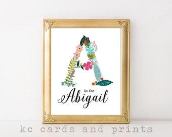 Abigail Printable - Custom Name Art - Nursery Wall Ar t- Baby Name