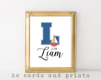 Liam Name Art Print Nursery Art Print Alphabet Art Printable