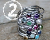 TWO Birthstone Stacking Rings. Mom Jewelry, Mommy Rings, Stackers, Gemstones and Sterling Silver. Made To Order Custom Mommy Rings.