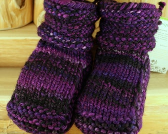 Grape Punch Hand Spun/Hand Dyed/Knit Sheepskin Soled Booties 18-24 Months