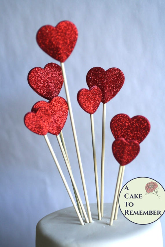 10 red hearts cake topper red glitter hearts cake topper