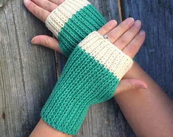 Fingerless gloves, Knit Gloves, Hand Warmers, Texting Gloves, Blue