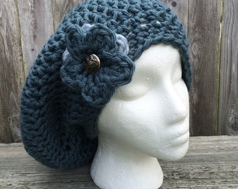 Slouchy Hat, Crochet Hat with Flower, Flower Slouch hat, Adult