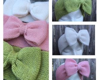 Bow Headband, Adult Headband, Knit Headband with Bow
