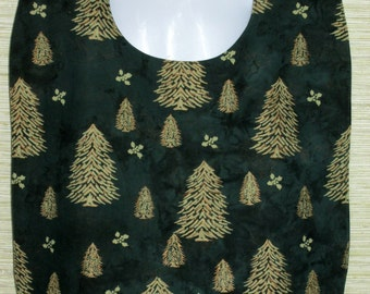 Holiday Christmas Winter Adult Unisex Garment Protector Bib Cover Up - Hunter Green with Trees & Holly