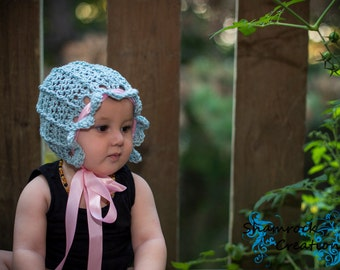 Crochet Pattern - Elegance Bonnet - All Baby Sizes Newborn through Toddler Included - Instant Digital Download