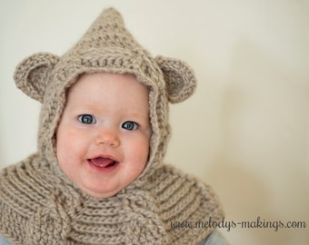 Bear Hooded Scarf Crochet Pattern - Bear Hooded Cowl Crochet Pattern -  Animal Hooded Scarf Crochet Pattern - Animal Hooded Cowl Pattern