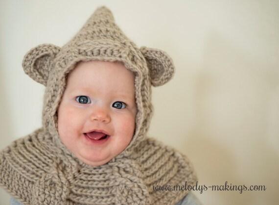 Free Crochet Pattern Bear Scarf : Bear Hooded Scarf Crochet Pattern Bear Hooded Cowl Crochet